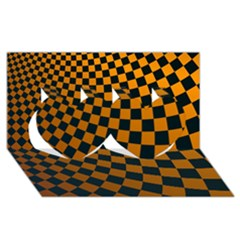 Abstract Square Checkers  Twin Hearts 3d Greeting Card (8x4)