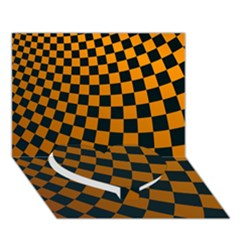 Abstract Square Checkers  Heart Bottom 3d Greeting Card (7x5)