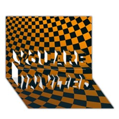 Abstract Square Checkers  You Are Invited 3d Greeting Card (7x5)