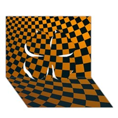 Abstract Square Checkers  Clover 3d Greeting Card (7x5)