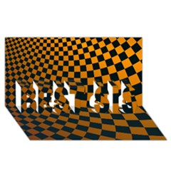 Abstract Square Checkers  BEST SIS 3D Greeting Card (8x4)