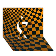 Abstract Square Checkers  Ribbon 3D Greeting Card (7x5)