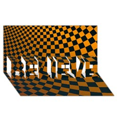 Abstract Square Checkers  Believe 3d Greeting Card (8x4)