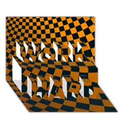 Abstract Square Checkers  Work Hard 3d Greeting Card (7x5)
