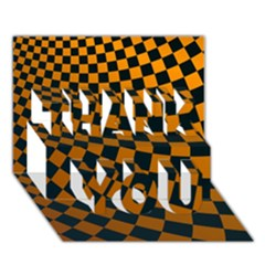 Abstract Square Checkers  Thank You 3d Greeting Card (7x5)