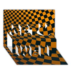 Abstract Square Checkers  Get Well 3d Greeting Card (7x5)