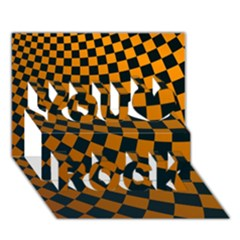 Abstract Square Checkers  You Rock 3D Greeting Card (7x5)