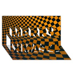 Abstract Square Checkers  Merry Xmas 3D Greeting Card (8x4)