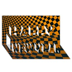 Abstract Square Checkers  Happy New Year 3d Greeting Card (8x4)