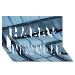Abstract View Of Modern Buildings Happy New Year 3d Greeting Card (8x4)