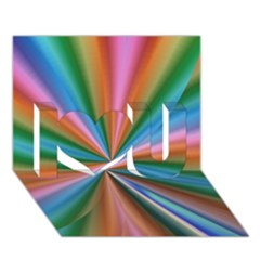 Abstract Rainbow I Love You 3D Greeting Card (7x5)