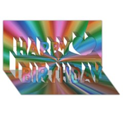 Abstract Rainbow Happy Birthday 3d Greeting Card (8x4)