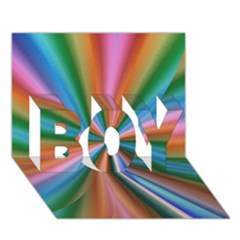 Abstract Rainbow BOY 3D Greeting Card (7x5)