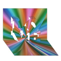 Abstract Rainbow LOVE 3D Greeting Card (7x5)