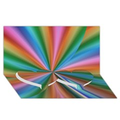 Abstract Rainbow Twin Heart Bottom 3D Greeting Card (8x4)