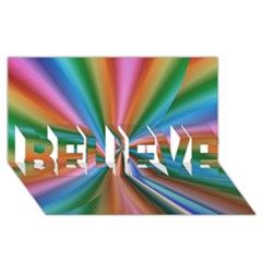 Abstract Rainbow BELIEVE 3D Greeting Card (8x4)