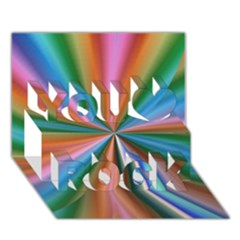Abstract Rainbow You Rock 3D Greeting Card (7x5)