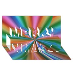 Abstract Rainbow Merry Xmas 3d Greeting Card (8x4)