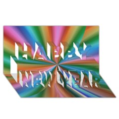 Abstract Rainbow Happy New Year 3d Greeting Card (8x4)
