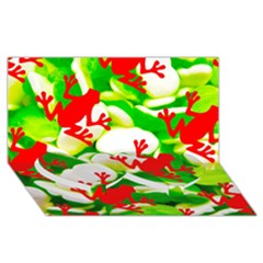 Box of Frogs  Twin Heart Bottom 3D Greeting Card (8x4)