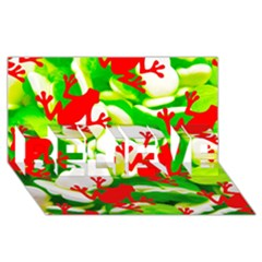 Box of Frogs  BELIEVE 3D Greeting Card (8x4)