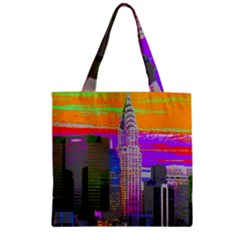 New York City  Chrysler  Zipper Grocery Tote Bags
