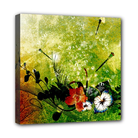 Awesome Flowers And Lleaves With Dragonflies On Red Green Background With Grunge Mini Canvas 8  X 8