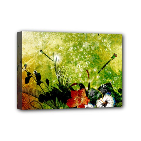 Awesome Flowers And Lleaves With Dragonflies On Red Green Background With Grunge Mini Canvas 7  X 5