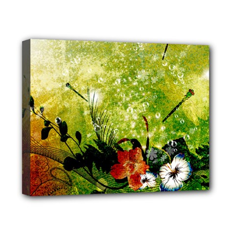 Awesome Flowers And Lleaves With Dragonflies On Red Green Background With Grunge Canvas 10  X 8