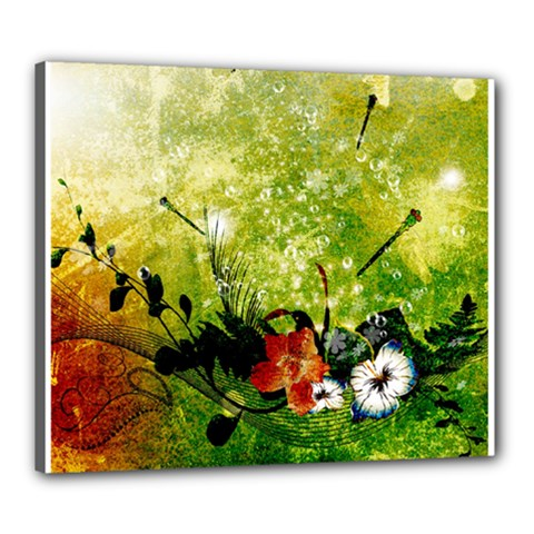 Awesome Flowers And Lleaves With Dragonflies On Red Green Background With Grunge Canvas 24  X 20