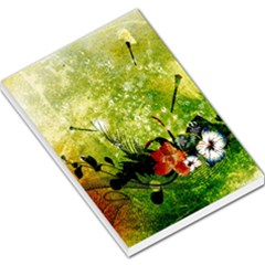Awesome Flowers And Lleaves With Dragonflies On Red Green Background With Grunge Large Memo Pads