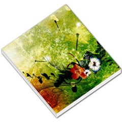 Awesome Flowers And Lleaves With Dragonflies On Red Green Background With Grunge Small Memo Pads