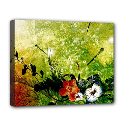 Awesome Flowers And Lleaves With Dragonflies On Red Green Background With Grunge Deluxe Canvas 20  x 16