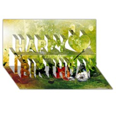 Awesome Flowers And Lleaves With Dragonflies On Red Green Background With Grunge Happy Birthday 3d Greeting Card (8x4)