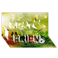 Awesome Flowers And Lleaves With Dragonflies On Red Green Background With Grunge Best Friends 3d Greeting Card (8x4)