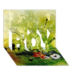 Awesome Flowers And Lleaves With Dragonflies On Red Green Background With Grunge Boy 3d Greeting Card (7x5)