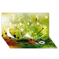 Awesome Flowers And Lleaves With Dragonflies On Red Green Background With Grunge Twin Hearts 3D Greeting Card (8x4)