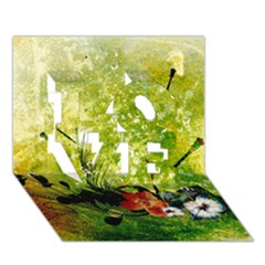 Awesome Flowers And Lleaves With Dragonflies On Red Green Background With Grunge LOVE 3D Greeting Card (7x5)
