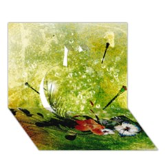 Awesome Flowers And Lleaves With Dragonflies On Red Green Background With Grunge Apple 3D Greeting Card (7x5)