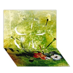 Awesome Flowers And Lleaves With Dragonflies On Red Green Background With Grunge Clover 3D Greeting Card (7x5)