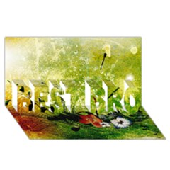 Awesome Flowers And Lleaves With Dragonflies On Red Green Background With Grunge BEST BRO 3D Greeting Card (8x4)