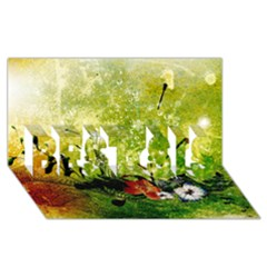 Awesome Flowers And Lleaves With Dragonflies On Red Green Background With Grunge BEST SIS 3D Greeting Card (8x4)