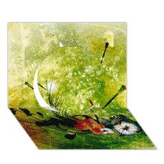 Awesome Flowers And Lleaves With Dragonflies On Red Green Background With Grunge Circle 3D Greeting Card (7x5)