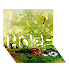 Awesome Flowers And Lleaves With Dragonflies On Red Green Background With Grunge Hope 3d Greeting Card (7x5)