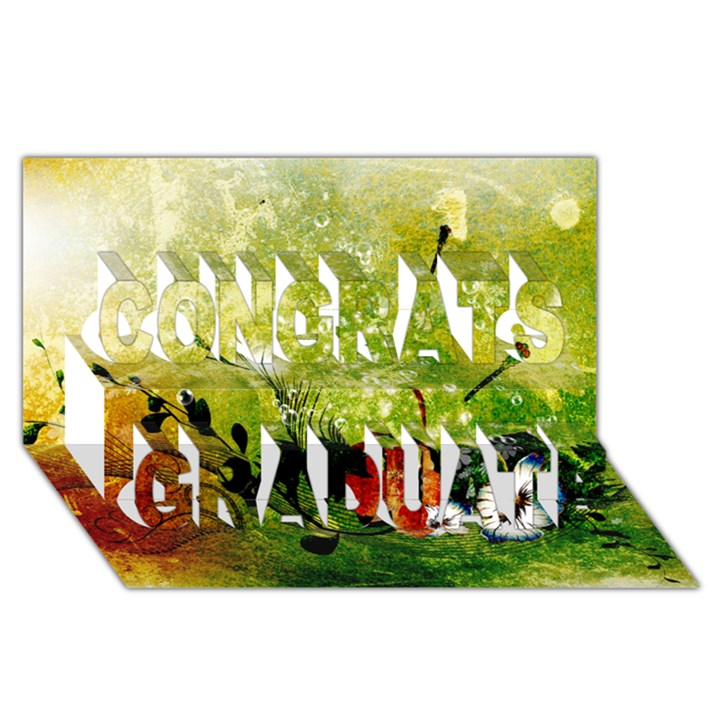 Awesome Flowers And Lleaves With Dragonflies On Red Green Background With Grunge Congrats Graduate 3D Greeting Card (8x4)