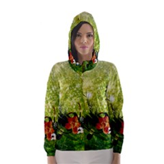 Awesome Flowers And Lleaves With Dragonflies On Red Green Background With Grunge Hooded Wind Breaker (Women)
