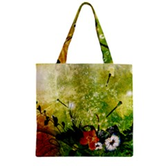 Awesome Flowers And Lleaves With Dragonflies On Red Green Background With Grunge Zipper Grocery Tote Bags