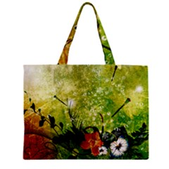 Awesome Flowers And Lleaves With Dragonflies On Red Green Background With Grunge Zipper Tiny Tote Bags