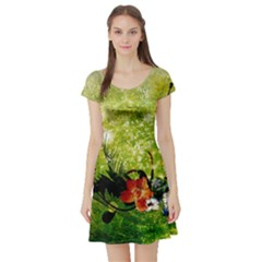 Awesome Flowers And Lleaves With Dragonflies On Red Green Background With Grunge Short Sleeve Skater Dresses