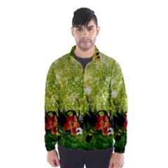 Awesome Flowers And Lleaves With Dragonflies On Red Green Background With Grunge Wind Breaker (men)